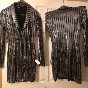 Tuxedo soft sequin silver and black mini dress